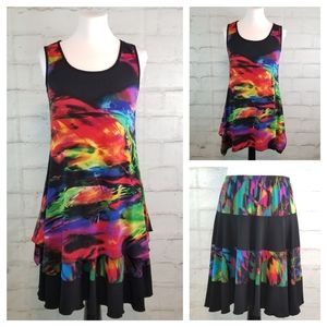 Vintage M 2 Piece Set Sleeveless Top & Midi Skirt